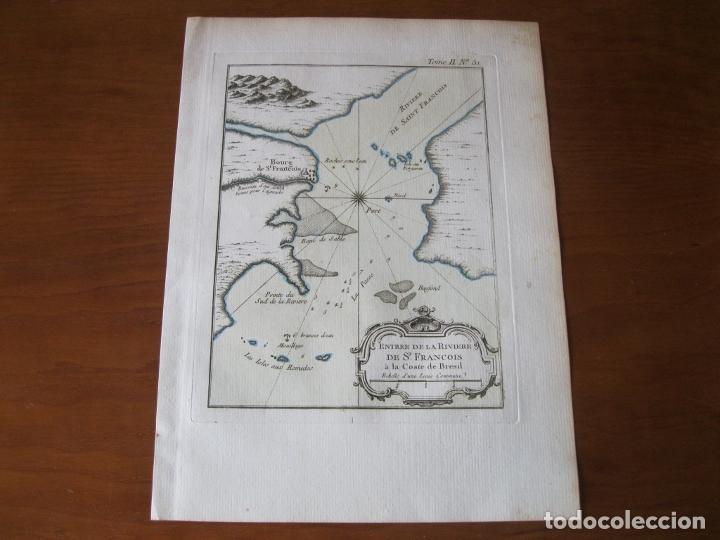 Arte: Mapa de la desembocadura del río San Francisco( Sergipe-Alagoas, Brasil), 1764. Bellin - Foto 2 - 230294100