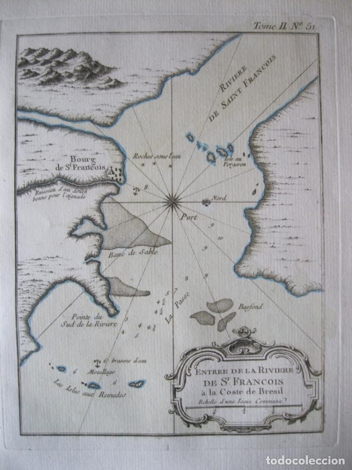 Arte: Mapa de la desembocadura del río San Francisco( Sergipe-Alagoas, Brasil), 1764. Bellin - Foto 3 - 230294100