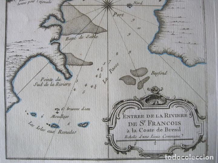Arte: Mapa de la desembocadura del río San Francisco( Sergipe-Alagoas, Brasil), 1764. Bellin - Foto 4 - 230294100