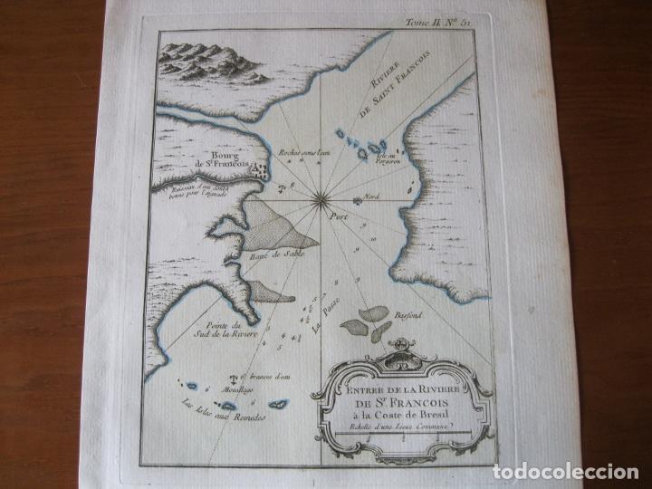 MAPA DE LA DESEMBOCADURA DEL RÍO SAN FRANCISCO( SERGIPE-ALAGOAS, BRASIL), 1764. BELLIN (Arte - Cartografía Antigua (hasta S. XIX))