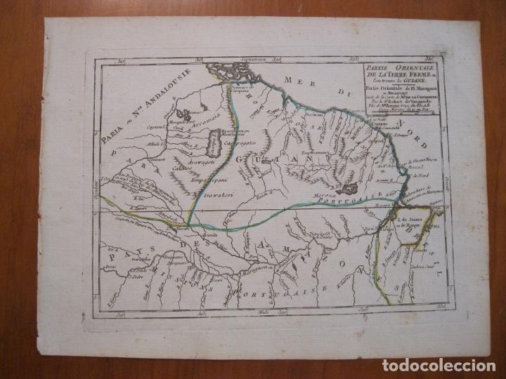 Arte: Mapa de Guyana, Amazonas y Brasil (América del sur), 1749. Vaugondy/La Condamine - Foto 2 - 230812290