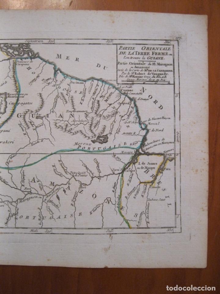 Arte: Mapa de Guyana, Amazonas y Brasil (América del sur), 1749. Vaugondy/La Condamine - Foto 3 - 230812290