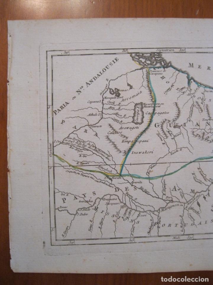 Arte: Mapa de Guyana, Amazonas y Brasil (América del sur), 1749. Vaugondy/La Condamine - Foto 4 - 230812290