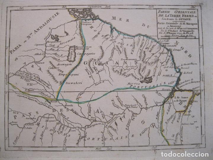 MAPA DE GUYANA, AMAZONAS Y BRASIL (AMÉRICA DEL SUR), 1749. VAUGONDY/LA CONDAMINE (Arte - Cartografía Antigua (hasta S. XIX))