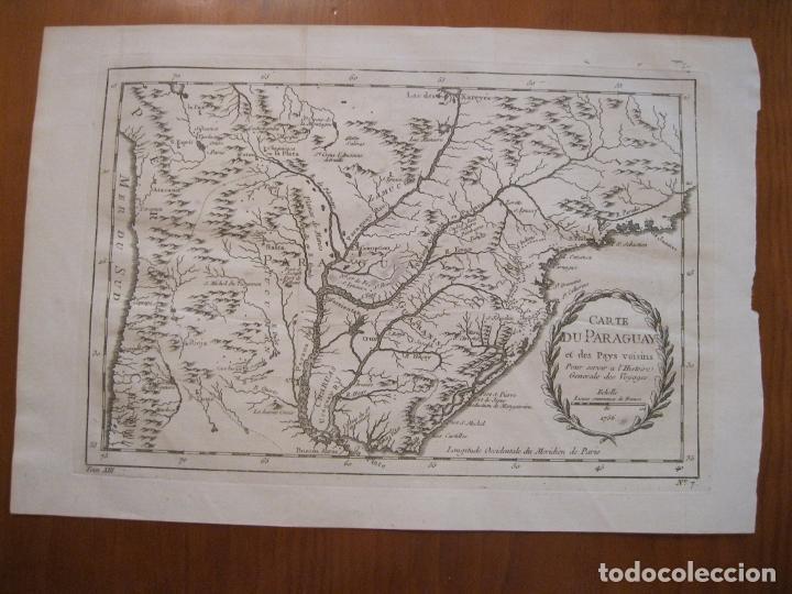 Arte: Mapa de Chile, Paraguay y Uruguay (América del Sur), 1756. Bellin - Foto 2 - 230814015