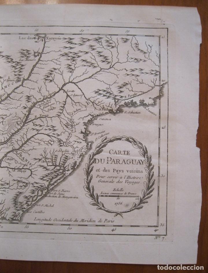 Arte: Mapa de Chile, Paraguay y Uruguay (América del Sur), 1756. Bellin - Foto 3 - 230814015