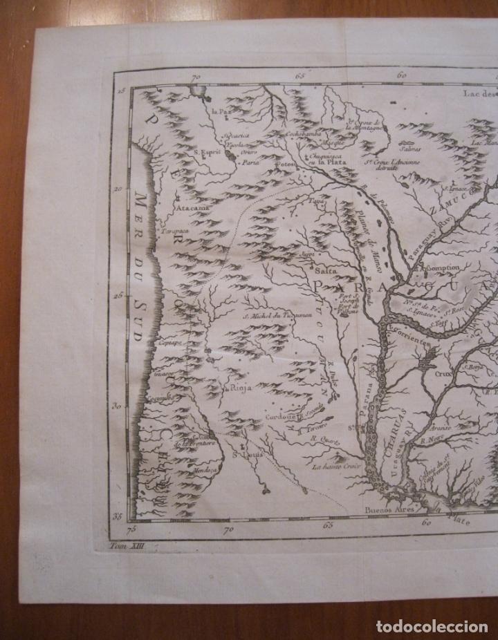Arte: Mapa de Chile, Paraguay y Uruguay (América del Sur), 1756. Bellin - Foto 4 - 230814015