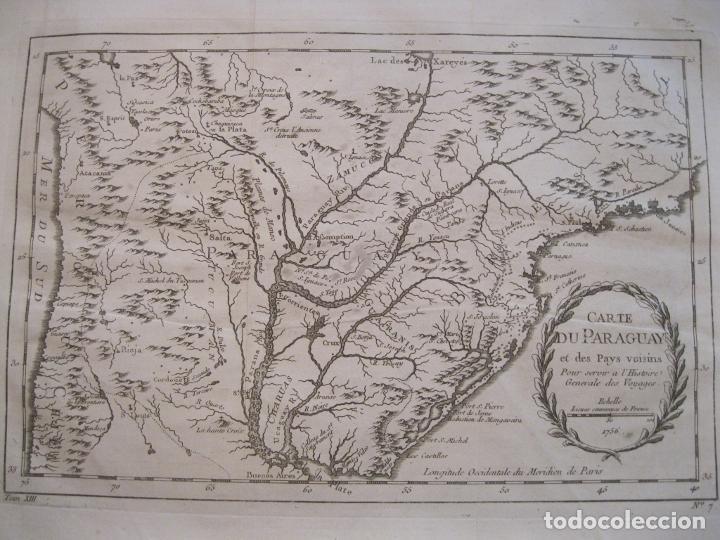 MAPA DE CHILE, PARAGUAY Y URUGUAY (AMÉRICA DEL SUR), 1756. BELLIN (Arte - Cartografía Antigua (hasta S. XIX))