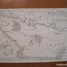 Arte: MAPA DEL RÍO DE LA PLATA (URUGUAY- ARGENTINA), 1766. TIRION. Lote 230827945