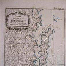 Arte: MAPA DE LA ISLA DE SANTA CATARINA (BRASIL, AMÉRICA DEL SUR)), 1764. BELLIN. Lote 230828410