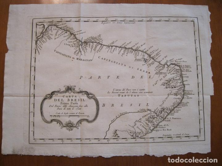 Arte: Mapa del nordeste de Brasil, 1785. Bellin/Prevost - Foto 2 - 230829585