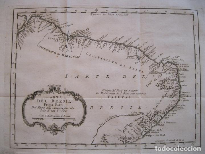 MAPA DEL NORDESTE DE BRASIL, 1785. BELLIN/PREVOST (Arte - Cartografía Antigua (hasta S. XIX))