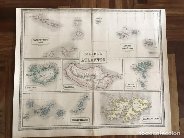Arte: Gran mapa de las islas del océano Atlántico, 1850. George Philip & Son - Foto 2 - 231824195