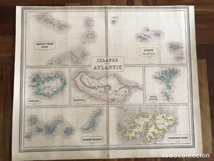 Arte: Gran mapa de las islas del océano Atlántico, 1850. George Philip & Son - Foto 3 - 231824195