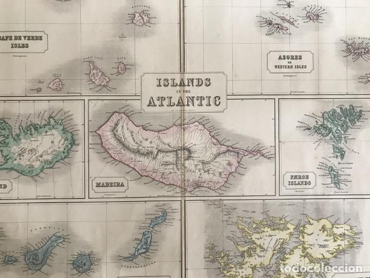 Arte: Gran mapa de las islas del océano Atlántico, 1850. George Philip & Son - Foto 4 - 231824195
