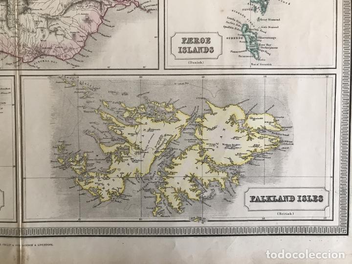 Arte: Gran mapa de las islas del océano Atlántico, 1850. George Philip & Son - Foto 8 - 231824195