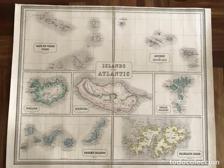 Arte: Gran mapa de las islas del océano Atlántico, 1850. George Philip & Son - Foto 13 - 231824195