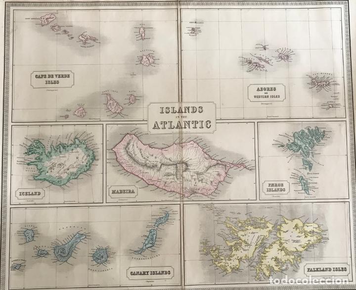 Arte: Gran mapa de las islas del océano Atlántico, 1850. George Philip & Son - Foto 15 - 231824195