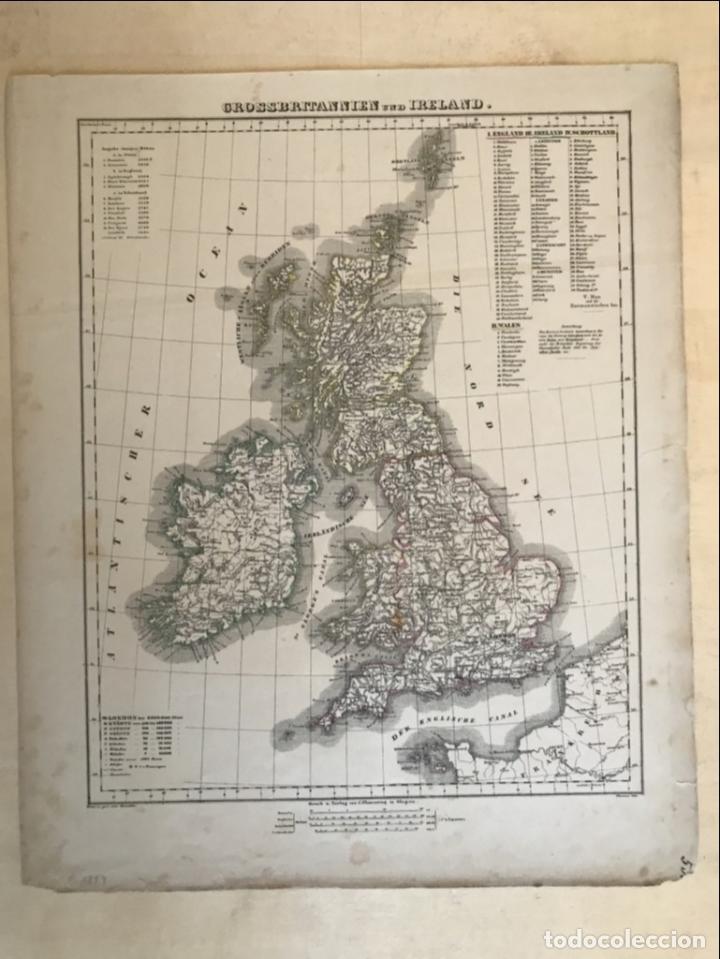 Arte: Mapa de Irlanda y Reino Unido (Europa), 1844.Handtke/Thomas/C. Flemming - Foto 2 - 232188395