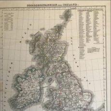 Arte: MAPA DE IRLANDA Y REINO UNIDO (EUROPA), 1844.HANDTKE/THOMAS/C. FLEMMING. Lote 232188395