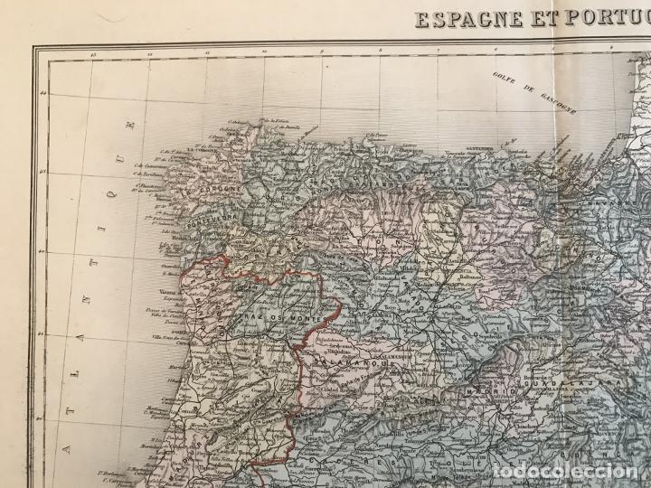Arte: Gran mapa de España y Portugal, hacia 1885. Migeon/Lacoste/Leocq/Biset - Foto 3 - 232216305