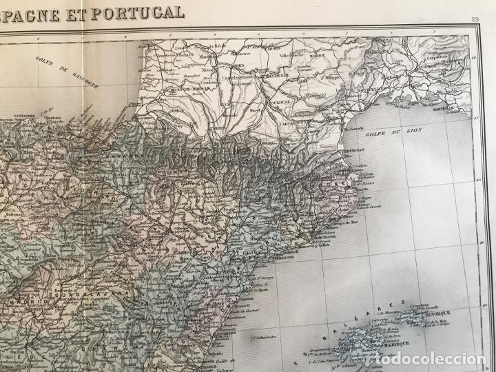 Arte: Gran mapa de España y Portugal, hacia 1885. Migeon/Lacoste/Leocq/Biset - Foto 5 - 232216305