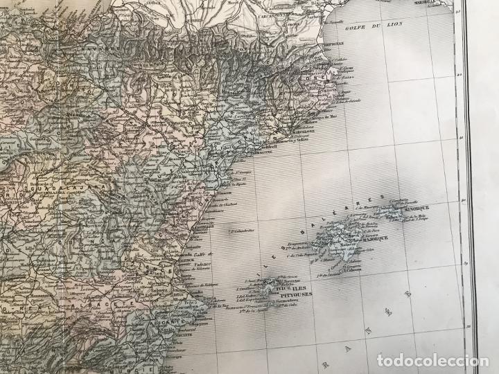 Arte: Gran mapa de España y Portugal, hacia 1885. Migeon/Lacoste/Leocq/Biset - Foto 6 - 232216305