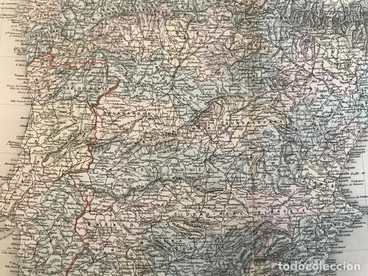 Arte: Gran mapa de España y Portugal, hacia 1885. Migeon/Lacoste/Leocq/Biset - Foto 10 - 232216305