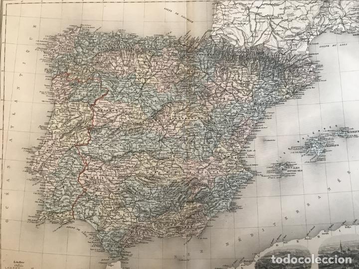 Arte: Gran mapa de España y Portugal, hacia 1885. Migeon/Lacoste/Leocq/Biset - Foto 11 - 232216305