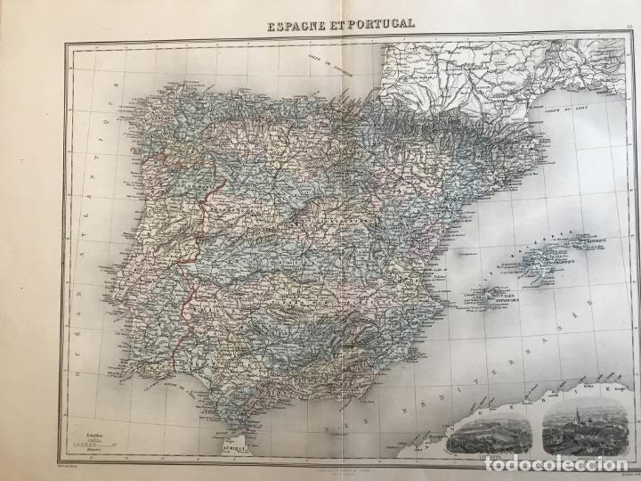 Arte: Gran mapa de España y Portugal, hacia 1885. Migeon/Lacoste/Leocq/Biset - Foto 14 - 232216305