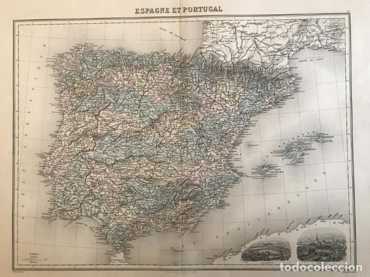 GRAN MAPA DE ESPAÑA Y PORTUGAL, HACIA 1885. MIGEON/LACOSTE/LEOCQ/BISET (Arte - Cartografía Antigua (hasta S. XIX))