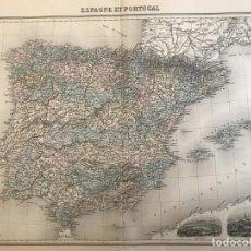 Arte: GRAN MAPA DE ESPAÑA Y PORTUGAL, HACIA 1885. MIGEON/LACOSTE/LEOCQ/BISET. Lote 232216305
