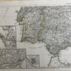 Arte: GRAN MAPA DEL CENTRO Y SUR DE PORTUGAL Y SUROESTE DE ESPAÑA, 1856. STIELER/PERTHES. Lote 232961055