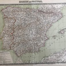 Arte: GRAN MAPA DE ESPAÑA Y PORTUGAL, CIRCA 1850 . VINCKELMANN/BROMME/KRAIS/HOFFMAN. Lote 233127365