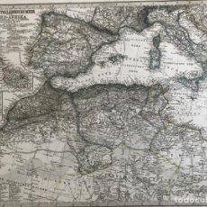 Arte: GRAN MAPA DE PORTUGAL, ESPAÑA, ITALIA Y NORTE DE ÁFRICA, 1866. STIELER/PERTHES/POPPEY. Lote 233130240