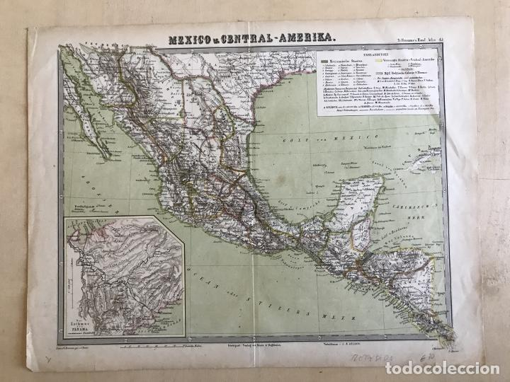Arte: Gran mapa a color de México y América Central, 1850. Bromme/Krais/Hoffman - Foto 2 - 233143675