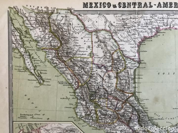 Arte: Gran mapa a color de México y América Central, 1850. Bromme/Krais/Hoffman - Foto 3 - 233143675