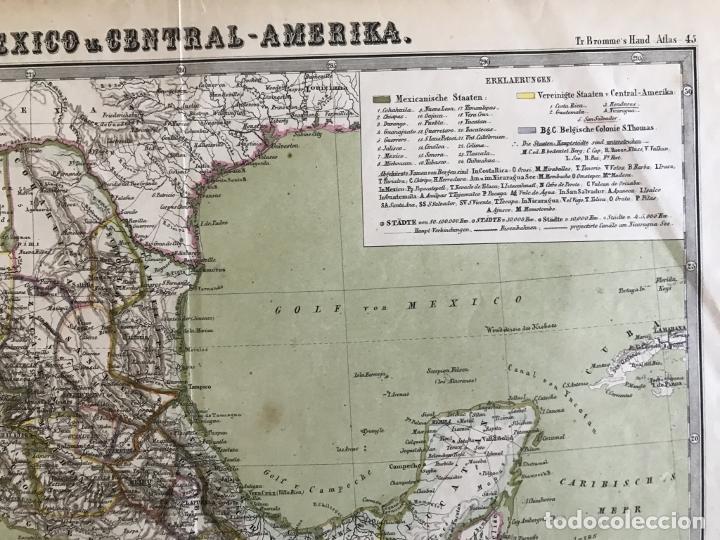Arte: Gran mapa a color de México y América Central, 1850. Bromme/Krais/Hoffman - Foto 4 - 233143675