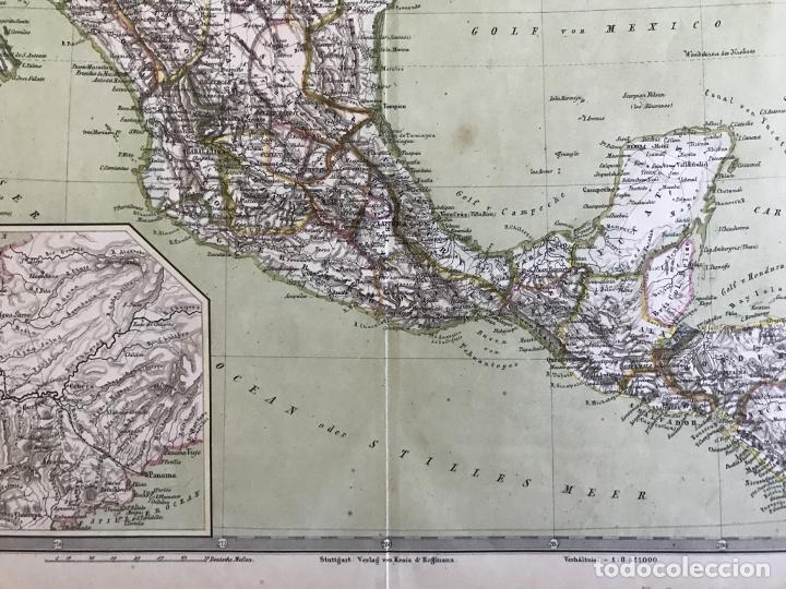 Arte: Gran mapa a color de México y América Central, 1850. Bromme/Krais/Hoffman - Foto 6 - 233143675