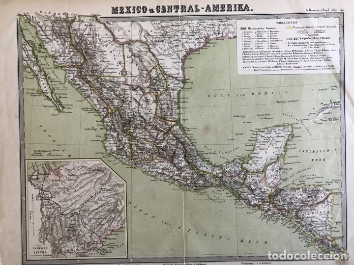 GRAN MAPA A COLOR DE MÉXICO Y AMÉRICA CENTRAL, 1850. BROMME/KRAIS/HOFFMAN (Arte - Cartografía Antigua (hasta S. XIX))