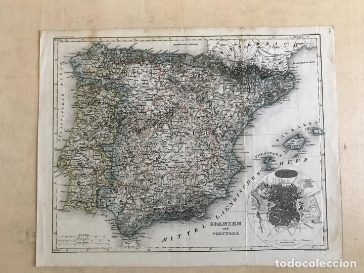 Arte: Mapa de España y Portugal y plano de Madrid, ca. 1840. H. Bornmüller - Foto 2 - 233275385