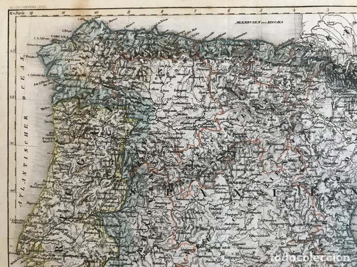 Arte: Mapa de España y Portugal y plano de Madrid, ca. 1840. H. Bornmüller - Foto 3 - 233275385
