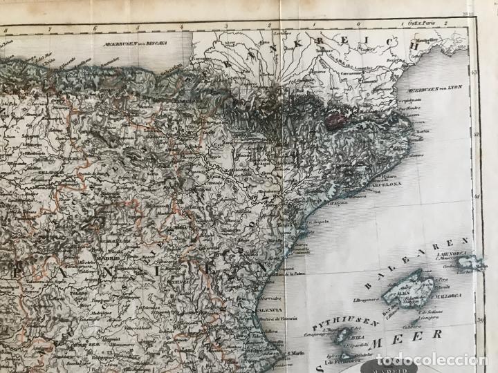 Arte: Mapa de España y Portugal y plano de Madrid, ca. 1840. H. Bornmüller - Foto 4 - 233275385