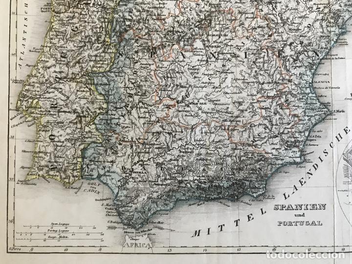 Arte: Mapa de España y Portugal y plano de Madrid, ca. 1840. H. Bornmüller - Foto 7 - 233275385