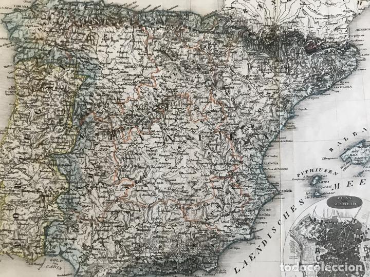 Arte: Mapa de España y Portugal y plano de Madrid, ca. 1840. H. Bornmüller - Foto 8 - 233275385
