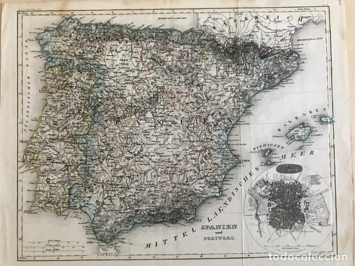 MAPA DE ESPAÑA Y PORTUGAL Y PLANO DE MADRID, CA. 1840. H. BORNMÜLLER (Arte - Cartografía Antigua (hasta S. XIX))