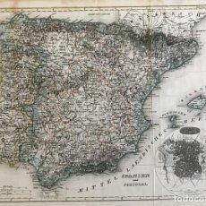 Arte: MAPA DE ESPAÑA Y PORTUGAL Y PLANO DE MADRID, CA. 1840. H. BORNMÜLLER. Lote 233275385