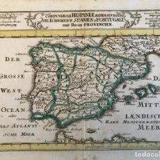 Arte: MAPA A COLOR DE ESPAÑA Y PORTUGAL, HACIA 1716. GABRIEL BOBENEHR. Lote 233678805