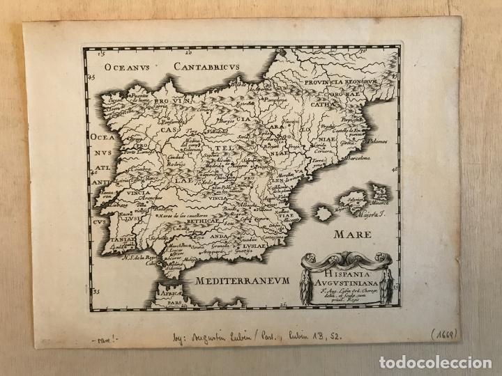 Arte: Hispania Augustiniana. Mapa de Portugal y España, 1659. Augustín Lubin/Petrus Baudouin - Foto 2 - 233713835