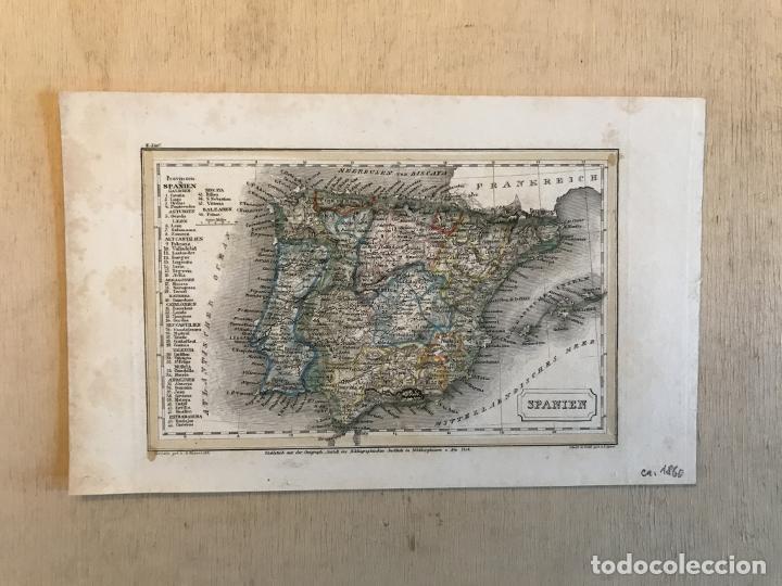 Arte: Pequeño mapa de España y Portugal, hacia 1860. Instituto Hildburghausen - Foto 2 - 233717445